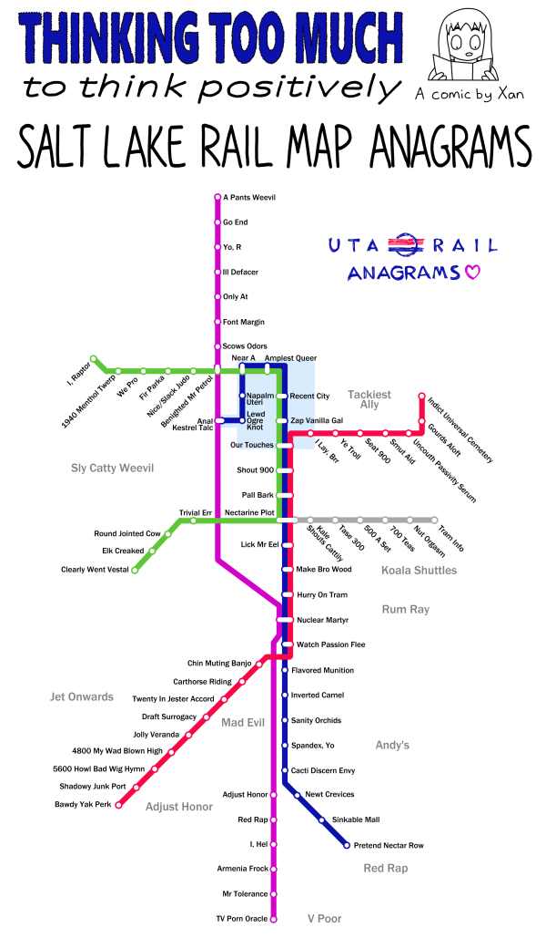 Salt Lake Rail Map Anagrams